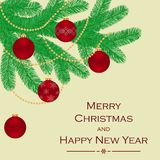 A branch of a Christmas tree, decorated with Christmas balls and beads. Greeting card or invitation. Merry Christmas and a happy new year. Element for design Stock Photo