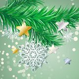 A branch of a Christmas tree with needles and toys on New Years Eve. Illustration Stock Image
