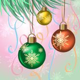 A branch of a Christmas tree with needles and toys on New Years Eve. Illustration Stock Photo