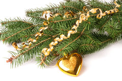 Branch of Christmas tree with short needles decorated toys in the form heart isolated on white background Royalty Free Stock Images
