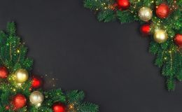 The branch of a Christmas tree with xmas decorations and magical royalty free stock photos