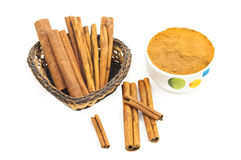 Branch of cinnamon and powdered cinnamon Stock Photo