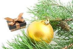 Branch with cones, gift and Christmas tree toy Royalty Free Stock Photography