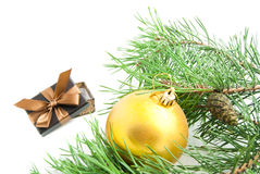 Branch with cones, gift and Christmas tree toy on white Royalty Free Stock Photos