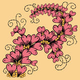 Branch consists of hearts in zentangle style. Vector hand drawn ornate floral pattern branch consists of hearts in zentangle style. Doodle flower with hearts Stock Photos