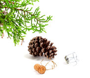 Branch of decorative home Christmas-tree, big pine cone and cham. Pagne wine cork with muselet, after New Year celebration. Isolated on white background Stock Photography