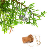 Branch of decorative home Christmas-tree with muselet from champ. Agne wine, after New Year celebration. Isolated on white background. Selective focus Royalty Free Stock Photos