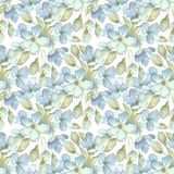 Branch with delicate flowers.  Watercolor seamless pattern 3. Hand drawn floral seamless background Royalty Free Stock Photography