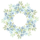 Branch with delicate flowers. Watercolor wreath. Round frame for cards 3. Floral wreath, hand drawn round frame Royalty Free Stock Photo