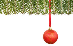 Branch of fir with christmas decorations Stock Photos