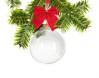Branch of fir with christmas decorations Royalty Free Stock Photo