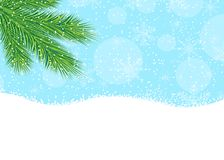 Branch of fir-tree, blue sky and snow. Vector  illustration Royalty Free Stock Photo