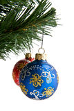 Branch of fir-tree with dekaraciyami to Christmas Royalty Free Stock Photo