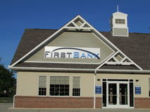 Branch of The First Bank in New Jersey. USA. Г. Royalty Free Stock Photos