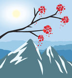 Branch with flowers like a hearts in front of the mountain landscape. Vector illustration Stock Photography