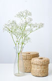 Branch of flowers and two closed baskets Stock Image
