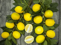 Branch of fresh juicy Sicilian lemons on a wooden background Royalty Free Stock Photos