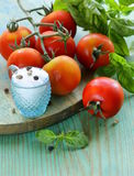 Branch of fresh organic  tomatoes with green basil Stock Image