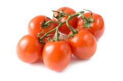 A branch of fresh red tomatoes Stock Photography