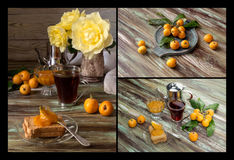 Branch with fruits medlars, jam and tea on a wooden table stock images