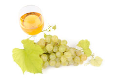Branch of grapes and glass of wine Stock Photo
