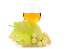 Branch of grapes and glass of wine. Isolated on white background Royalty Free Stock Images
