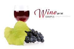 Branch of grapes and glass of wine. Isolated on white background Stock Photography