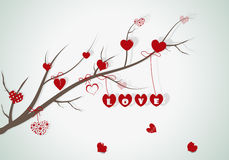 Branch with hearts. Abstract banch with hearts Royalty Free Stock Photos