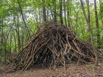 Branch hut in the woods Royalty Free Stock Photography