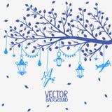 Branch lanterns vector illustration