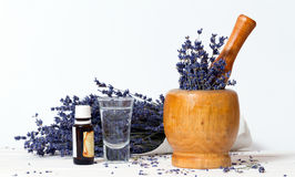 Branch of lavender. And mortar Stock Photo