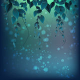 Branch with leaves on an abstract background with spots. Vector royalty free illustration