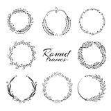 Branch with leaves, laurel wreath, floral circle frames for decoration. Royalty Free Stock Images