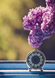 Branch of lilac flower on vintage elegant clock at the window Royalty Free Stock Photo