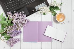 Branch of lilac flowers with pads and laptop Stock Image