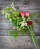 Branch of lilac and tulips Stock Photography
