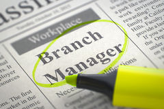 Branch Manager Job Vacancy. 3D. Royalty Free Stock Images