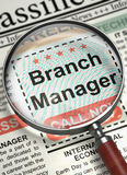 Branch Manager Wanted. 3D. Magnifying Lens Over Newspaper with Searching Job of Branch Manager. Column in the Newspaper with the Vacancy of Branch Manager vector illustration