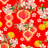Branch of mandarin orange fruit, red paper lantern. Chinese new year card. Watercolor. Branch of mandarin orange fruit with red paper lantern. Chinese new year Royalty Free Stock Photo