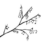 Branch with music notes illustration Royalty Free Stock Images