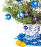 A branch with New Year's balls Royalty Free Stock Photos