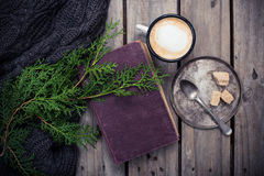 Branch Of Spruce, Warm Sweater And Cup Coffee With Sugar Stock Images