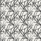 Branch pattern. Seamless pattern of black branches with seamless sample in swatch panel Stock Photos