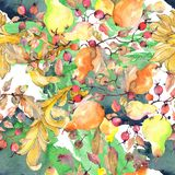 Branch of pears with rose hips fruit. Watercolor background illustration set. Seamless background pattern. vector illustration