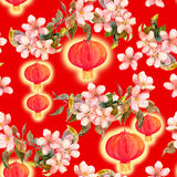 Branch of plum blossom, red paper lantern. Chinese new year seamless pattern. Watercolor Stock Photos