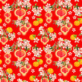Branch of plum blossom with red paper lanterns, holiday mandarin fruits. Chinese new year seamless pattern. Watercolor Stock Photography