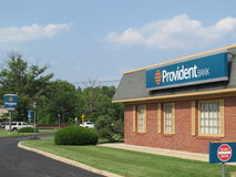 Branch of The Provident Bank in New Jersey. USA. Г. Branch building of the Provident Bank in NJ. Blue skies, some clouds Stock Photo