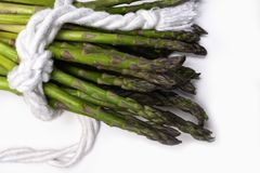 Branch of fresh green asparagus wrapped in a rope isolated on white background. Branch of raw fresh green asparagus, wrapped in a rope, isolated on white royalty free stock photos