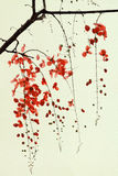 Branch of Red Blossom on Handmade Paper Royalty Free Stock Image