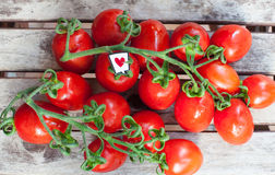 Branch of red ripe cherry tomatoes and heart label Royalty Free Stock Photos